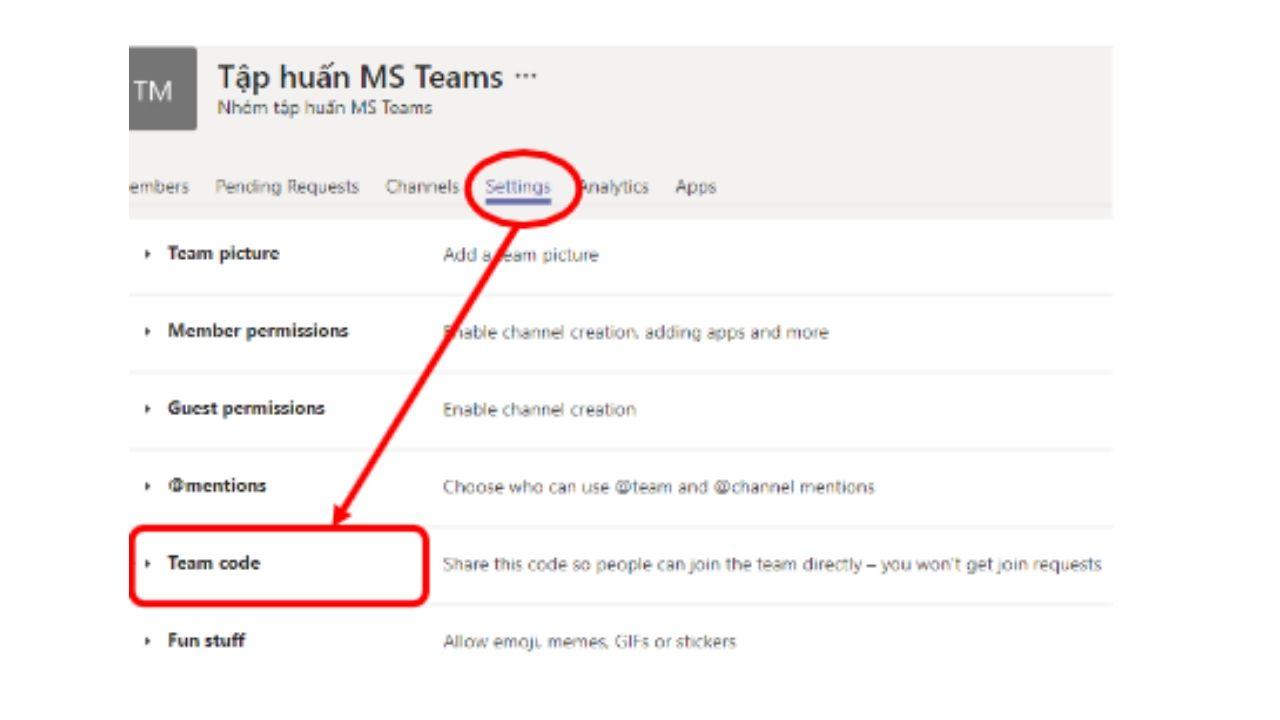 lấy mã code bằng cách vào nhóm chọn: Manage teams => Setting => Team Code